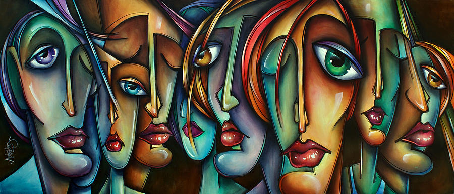 Portrait Painting - face Us by Michael Lang