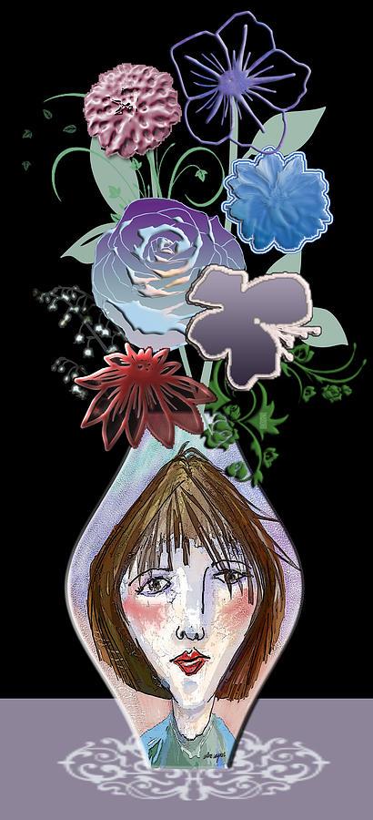 Flowers Digital Art - Face Vase by Arline Wagner