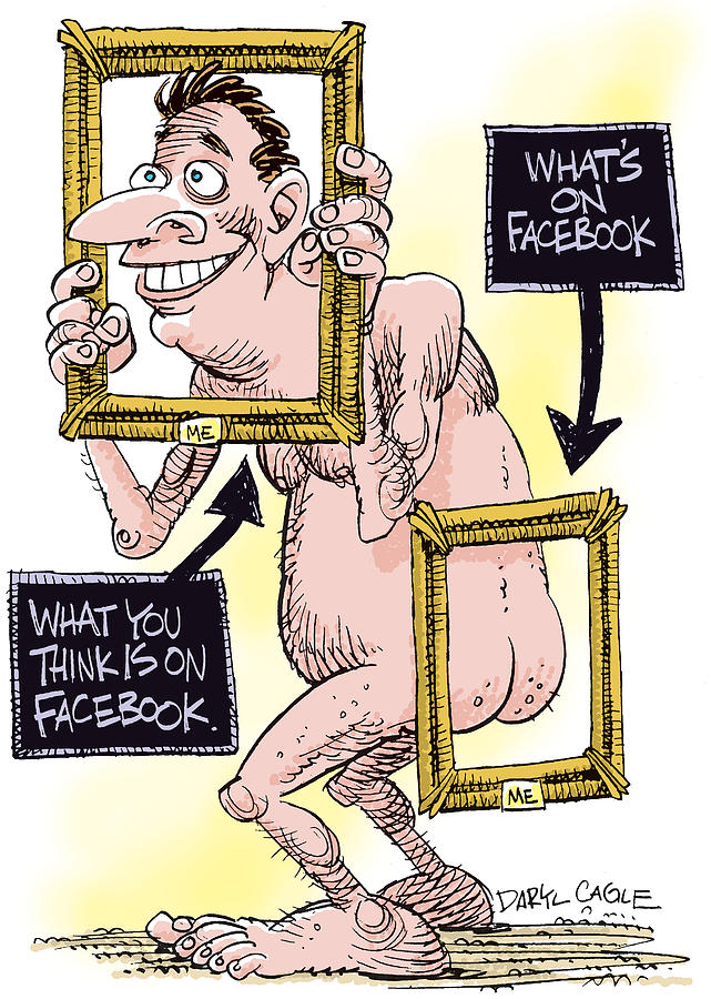 Internet Drawing - Facebook Privacy by Daryl Cagle