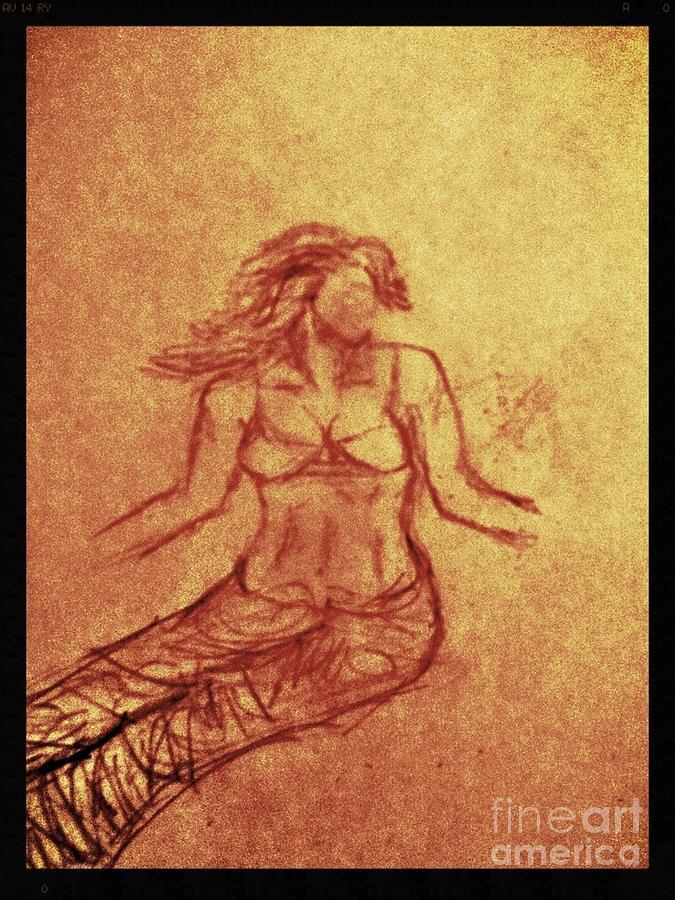 Faceless Mermaid Drawing by Sarah Beggs
