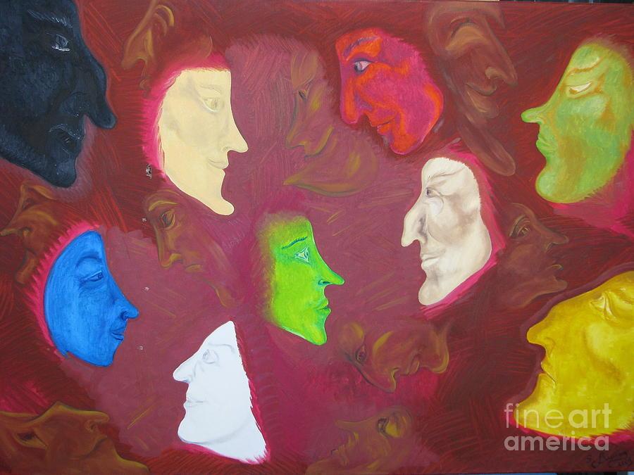 Oil Painting Painting - Faces And Masks by Svetlana Vinokurtsev