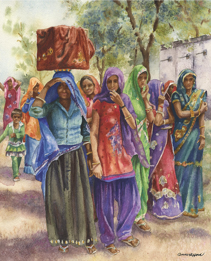 India Painting Painting - Faces From Across The World by Anne Gifford