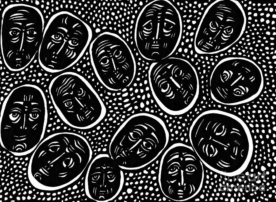 Face Drawing - Faces In Stone by Sarah Loft