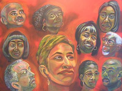 Faces Painting - Faces Of Katrina by C D  Collins