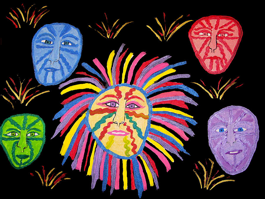 Faces Out Of The Dark  Painting by Betty  Roberts
