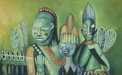 Ancestors Painting - Faces Three by Joe Amenechi