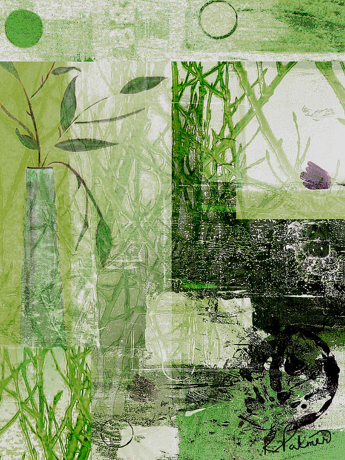 Abstract Mixed Media - Faded Floral by Ruth Palmer