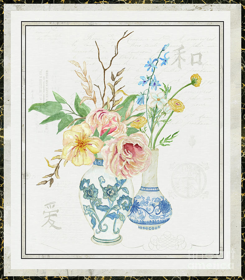 French Painting - Faded Glory Chinoiserie - Floral Still Life 2 Blush Gold Cream by Audrey Jeanne Roberts