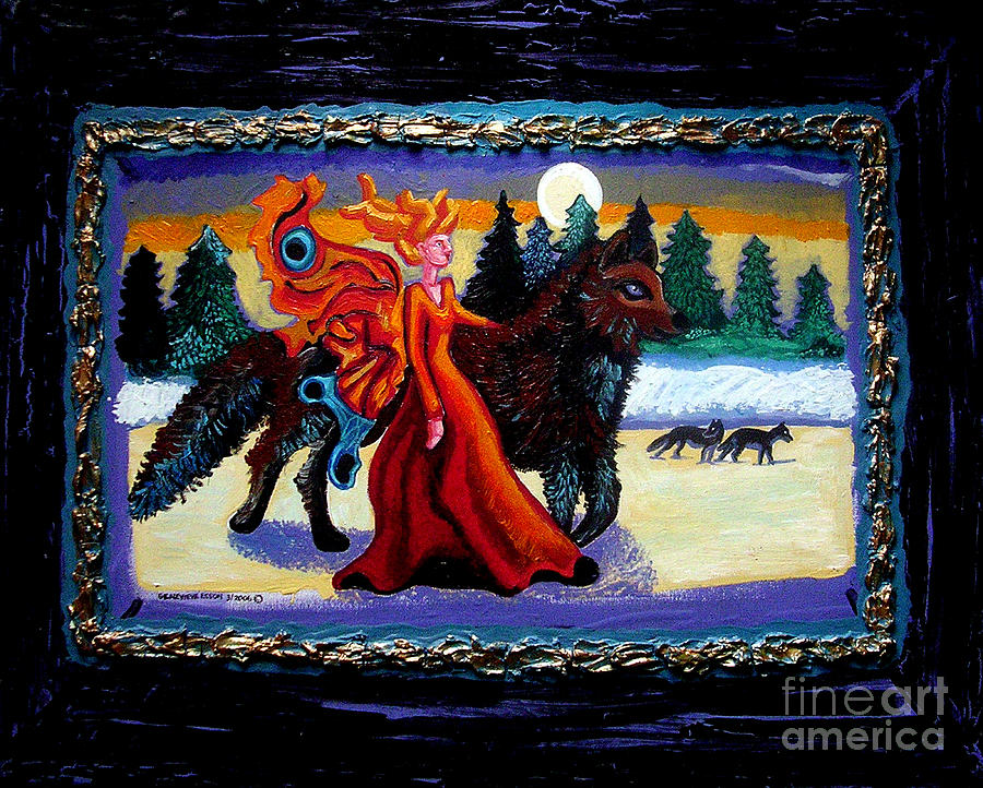 Faerie Painting - Faerie And Wolf by Genevieve Esson