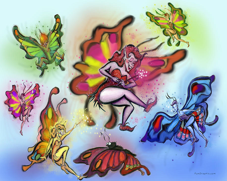 Faeries Painting - Faeries by Kevin Middleton