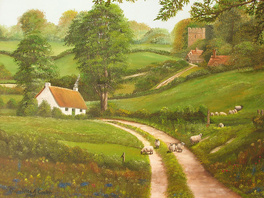 Cottage Painting - Failte Romhat  Welcome by Charolette A Coulter