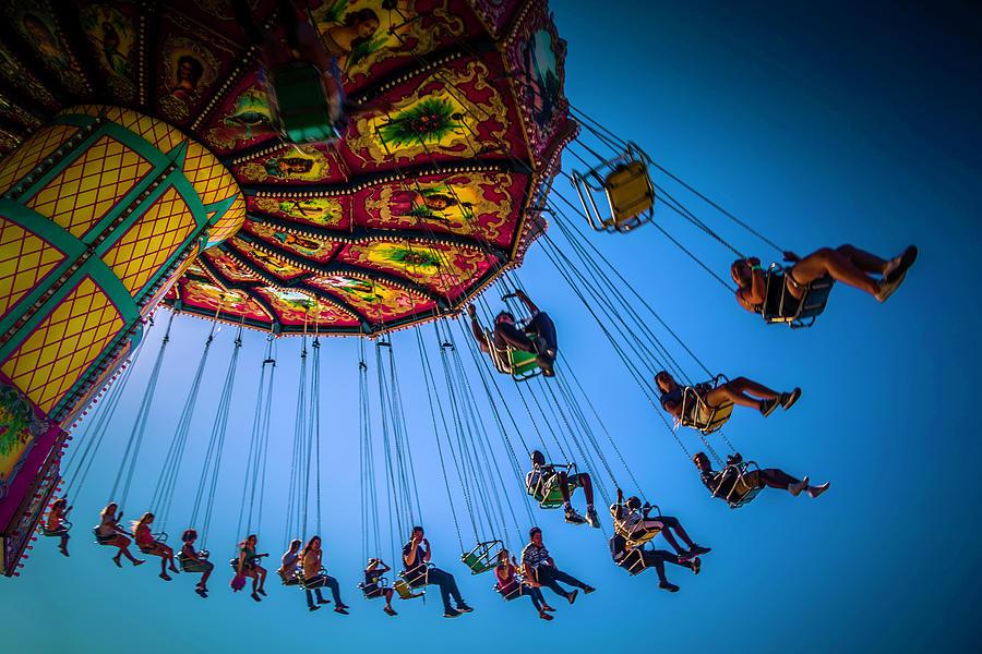 Carnival Swing Photograph - Fair Chair Swinger by Garry Gay