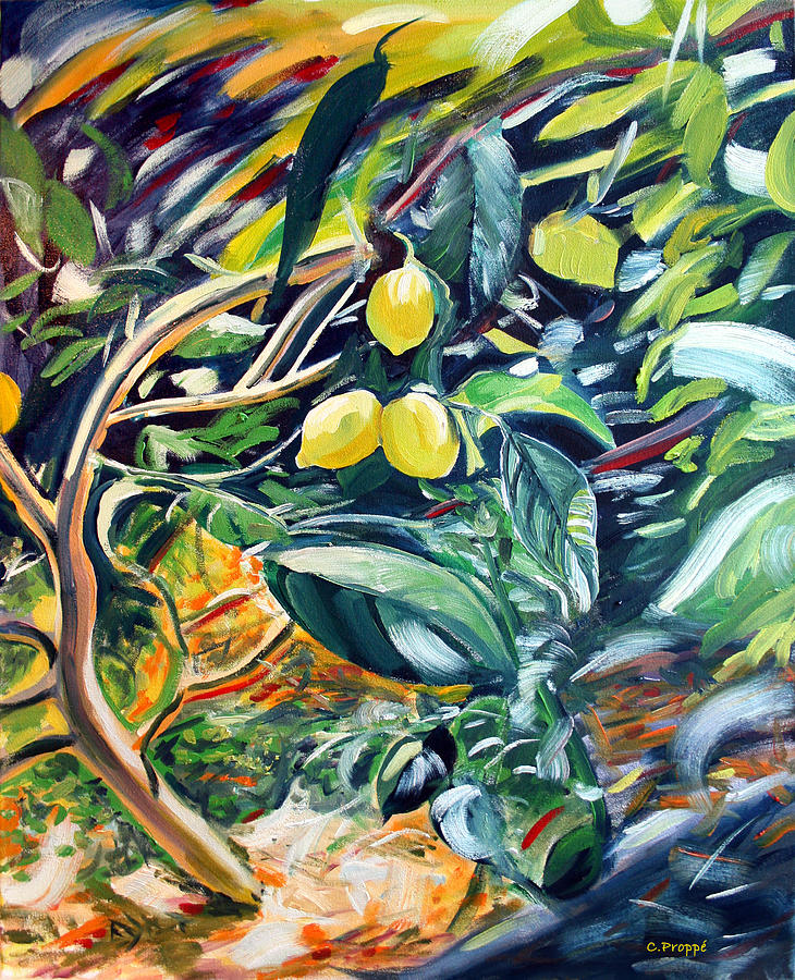Lemons Painting - Fairfax Fresh Meyer Lemons by Colleen Proppe