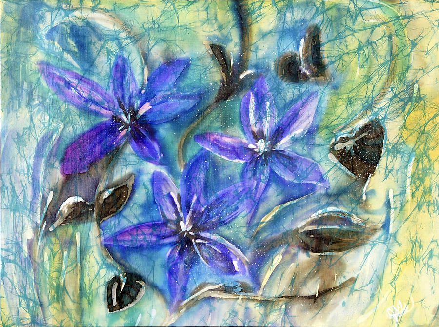 Silk Painting - Fairies In The Garden by Joanna White