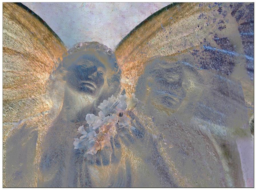 Decorative Digital Art - Fairies With White Flowers by Heike Schenk-Arena