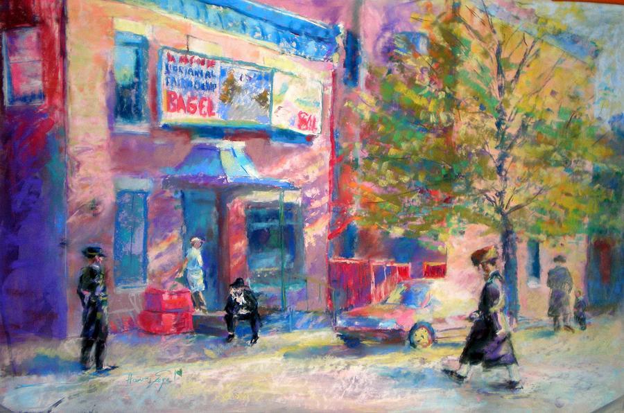 Streetscene Painting - Fairmount Bagel by Harvey Segal