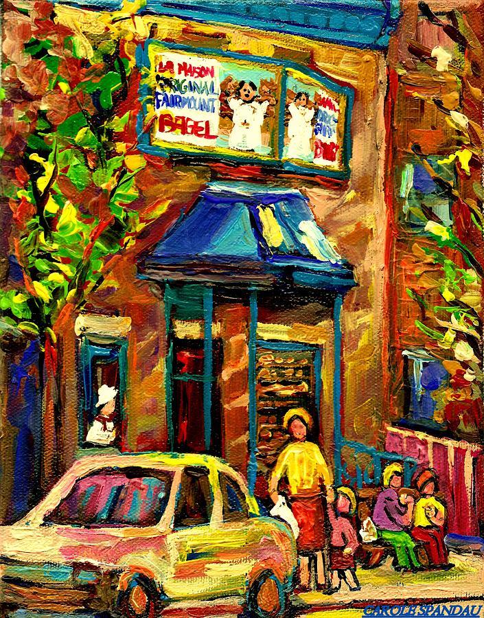 Fairmount Bagel Painting - Fairmount Bagel In Montreal by Carole Spandau