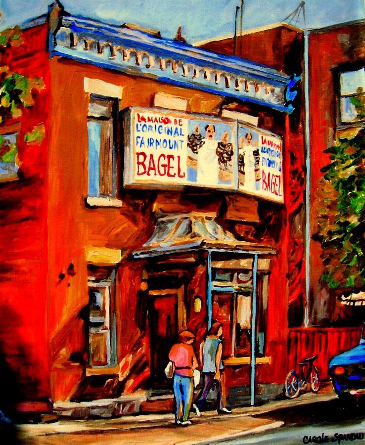 Fairmount Bagel Painting - Fairmount Bagel Montreal by Carole Spandau