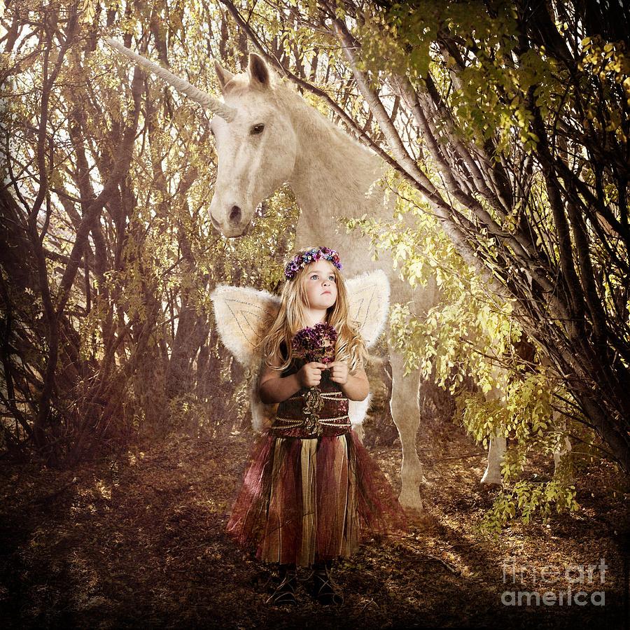 Unicorn Photograph - Fairy And Unicorn by Cindy Singleton