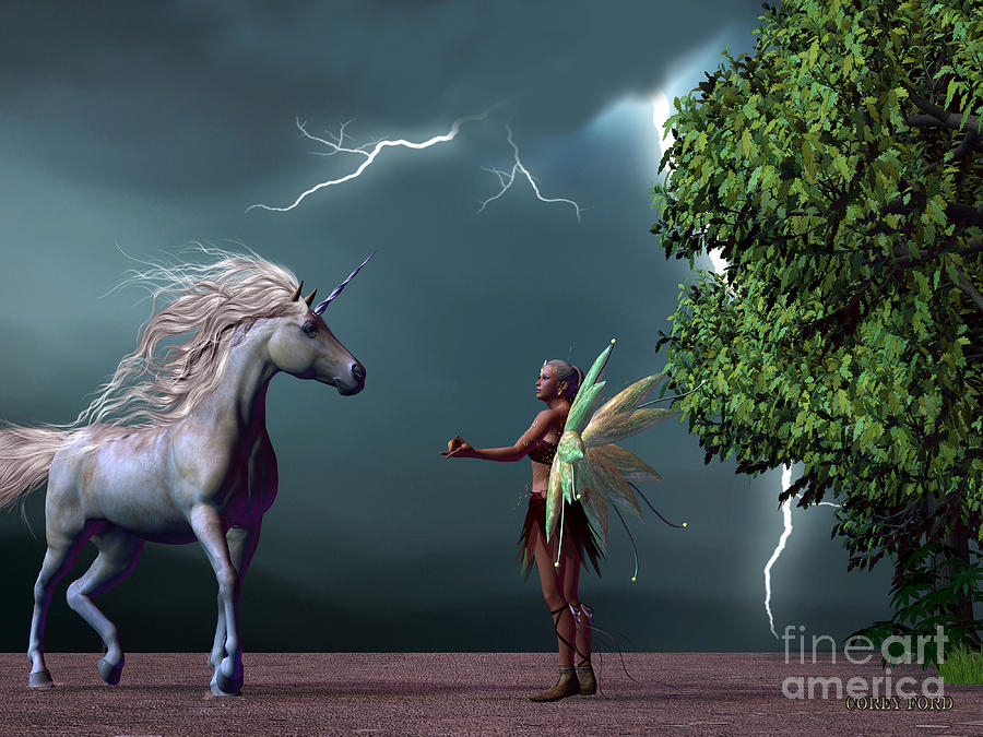 Fairy Painting - Fairy And Unicorn by Corey Ford