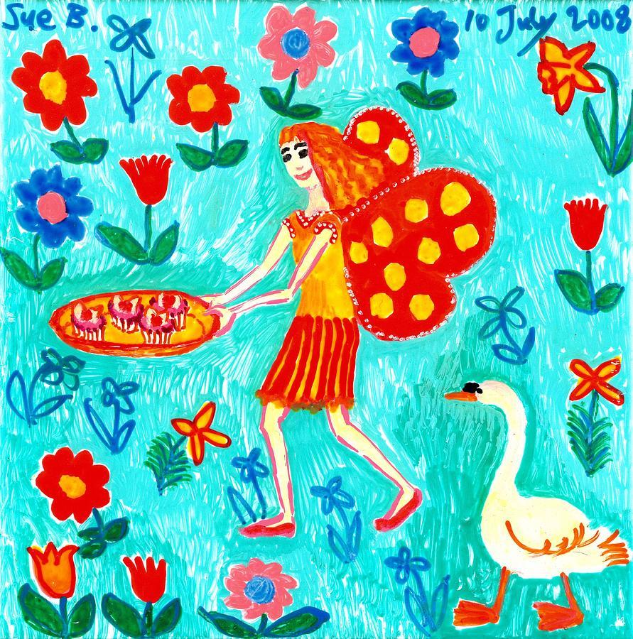 Sue Burgess Painting - Fairy Cakes by Sushila Burgess