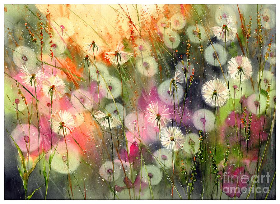 Pink Painting - Fairy Dandelions Fields by Suzann Sines