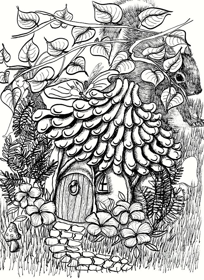 Fairies Drawing - Fairy House with Pine Cone Roof Shingles and Squirrel by Dawn Boyer