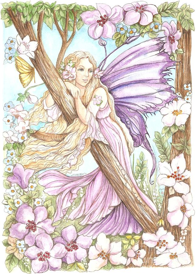 Fairy In The Flowers Painting By Morgan Fitzsimons