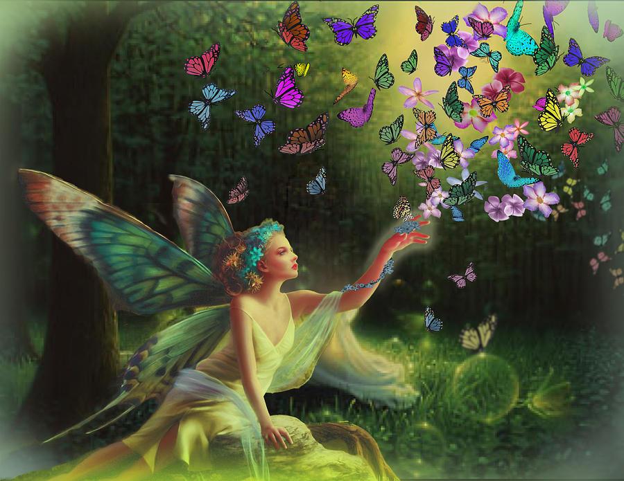 Fairy Digital Art - Fairy Of The Butterflies by Edelberto Cabrera