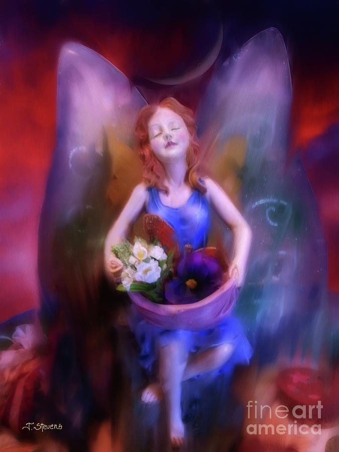 Fairy Painting - Fairy Of The Garden by Joseph J Stevens