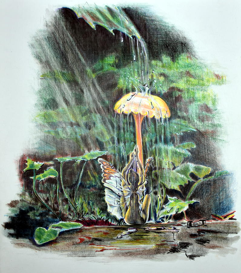 Fairy Drawing - Fairy Shower by Susan Moore