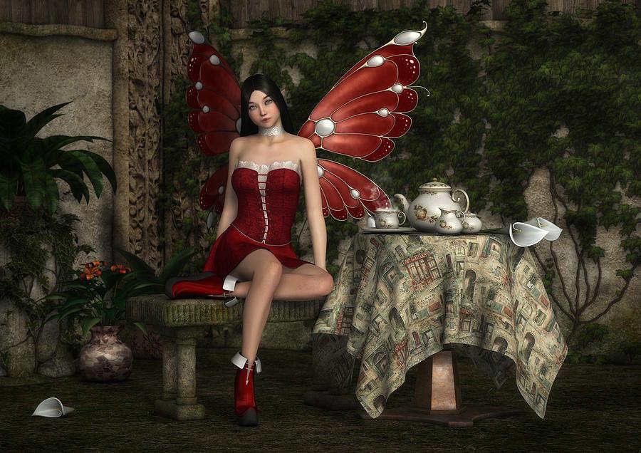 Fairy Digital Art - Fairy Tea Time by Rachel Dudley