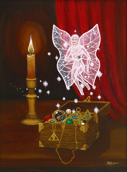 Fairy Painting - Fairy Treasure by Roz Eve