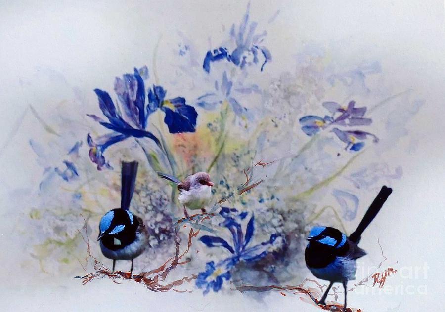Fairy Wrens in a Cottage Garden by Ryn Shell