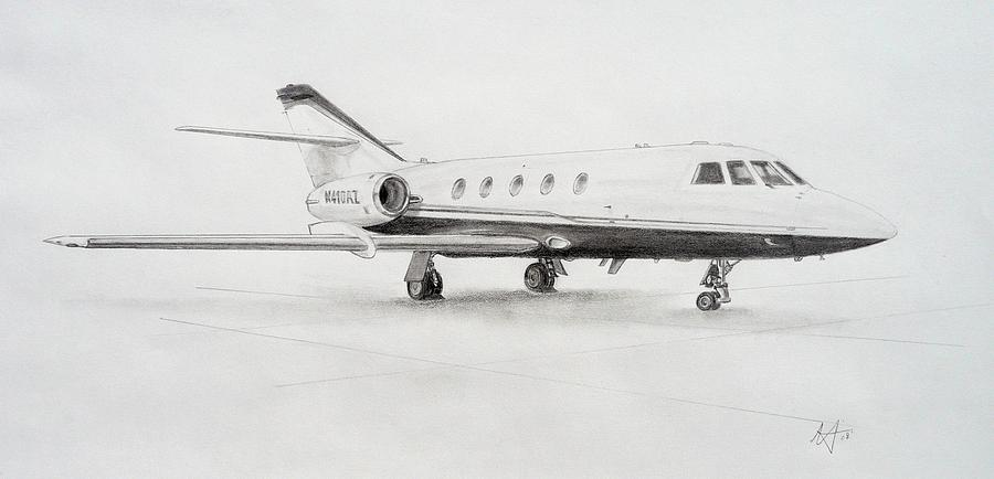 F20 Drawing - Falcon 20 Alone On The Ramp by Nicholas Linehan