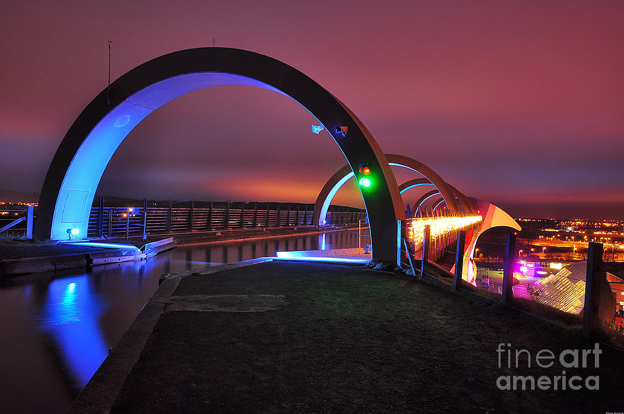 Wheel Photograph - Falkirk Wheel At Night by Grant Muirhead