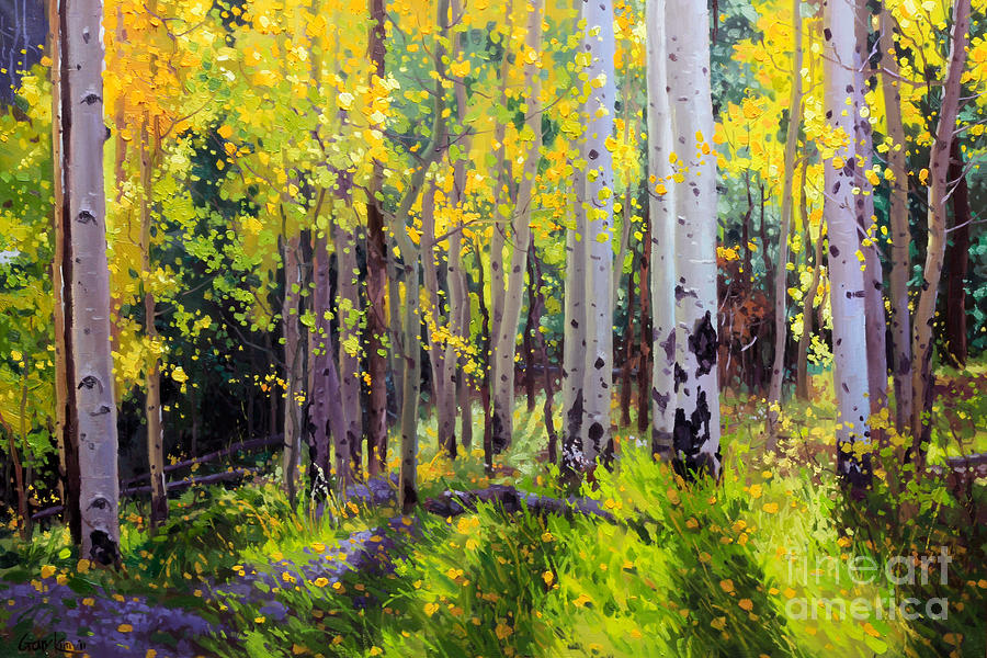 Aspen Tree Painting - Fall Aspen Forest by Gary Kim