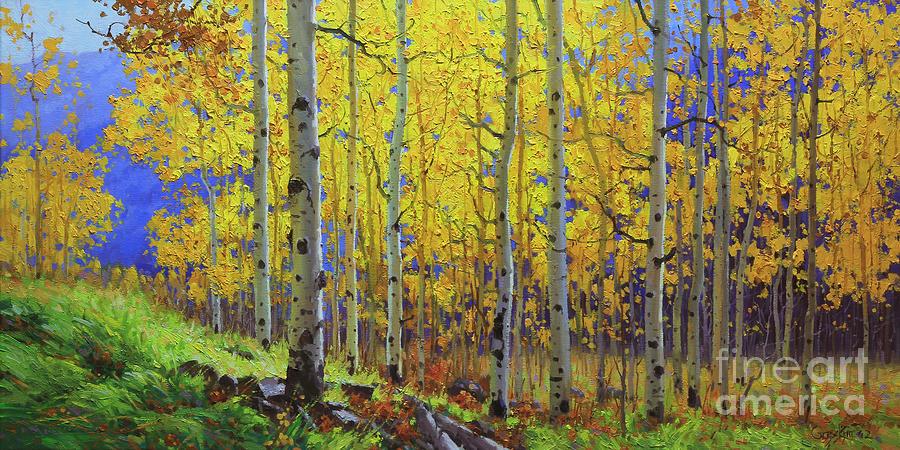 Aspen Painting - Fall Aspen Hill  by Gary Kim