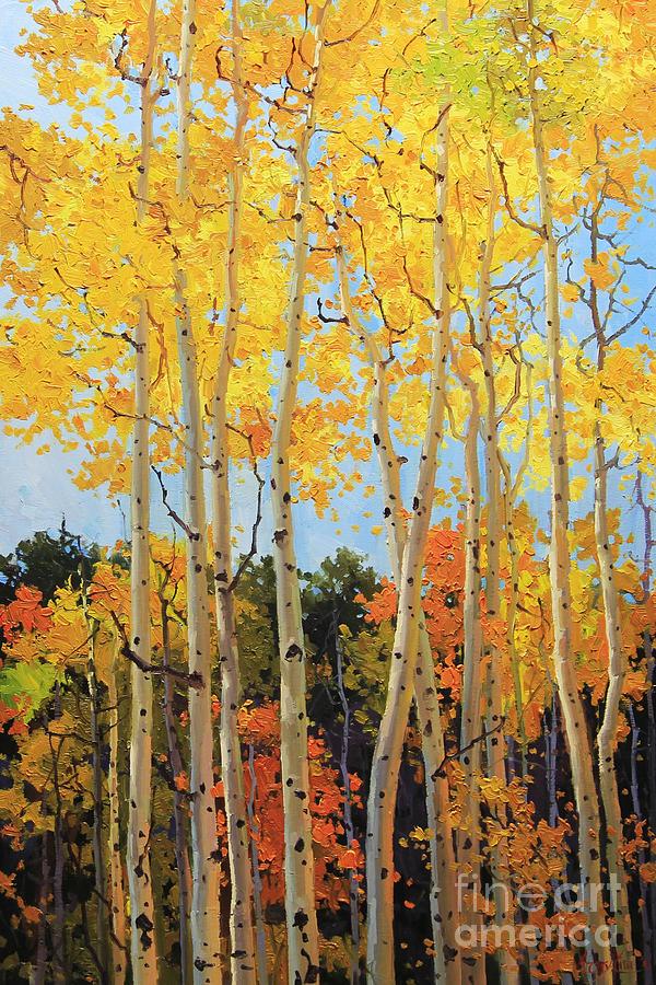 Nature Painting - Fall Aspen Santa Fe by Gary Kim