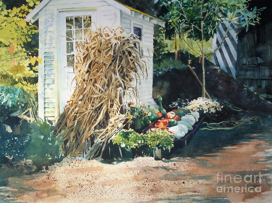 Garden Painting - Fall At Ivy Corners by Elizabeth Carr