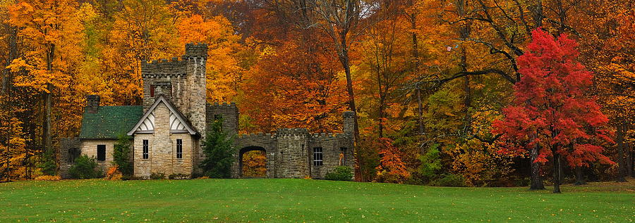 Fall At Squires Castle Panorama Photograph by Jeff Burcher