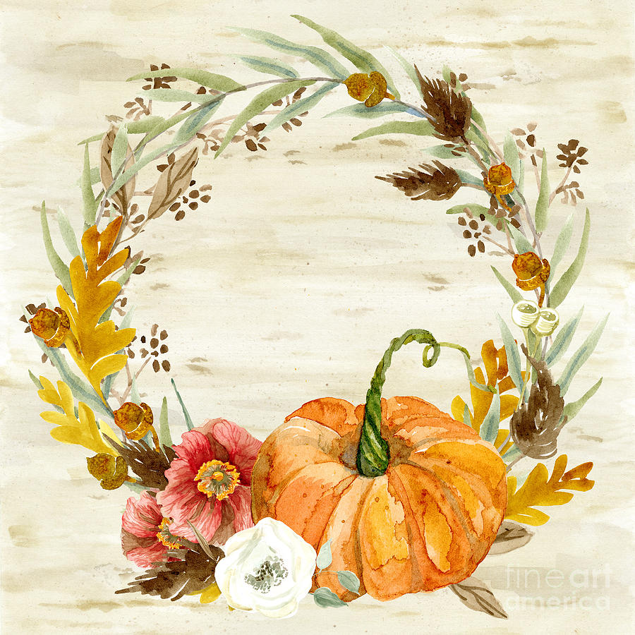 Fall Autumn Harvest Wreath On Birch Bark Watercolor Painting By