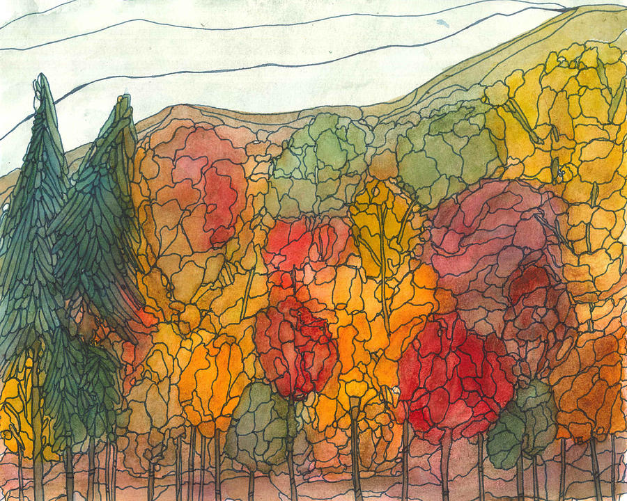 Forest Painting - Fall Brilliance by Katie Ree