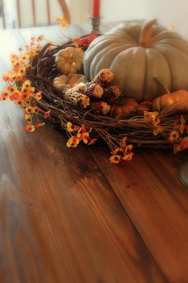 Pumpkin Photograph - Fall Centerpiece by Sherry Hahn