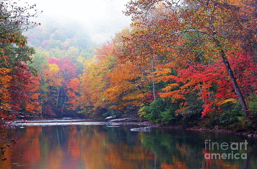 Monongahela National Forest Photograph - Fall Color Williams River Mirror Image by Thomas R Fletcher