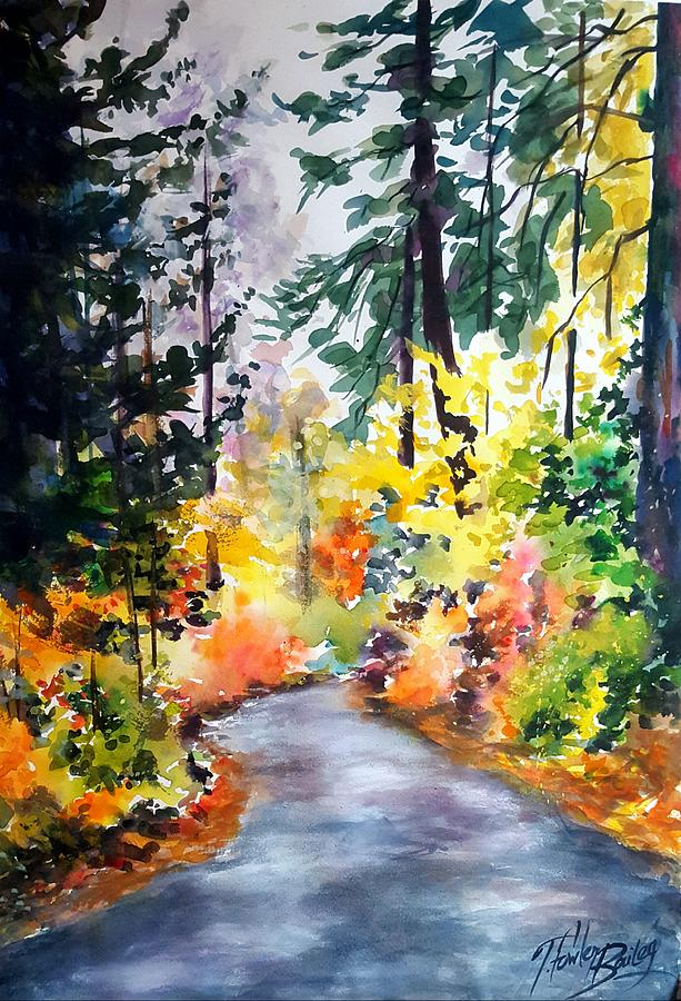 Autumn Leaves Painting - Fall Colors Make Balch Park by Therese Fowler-Bailey