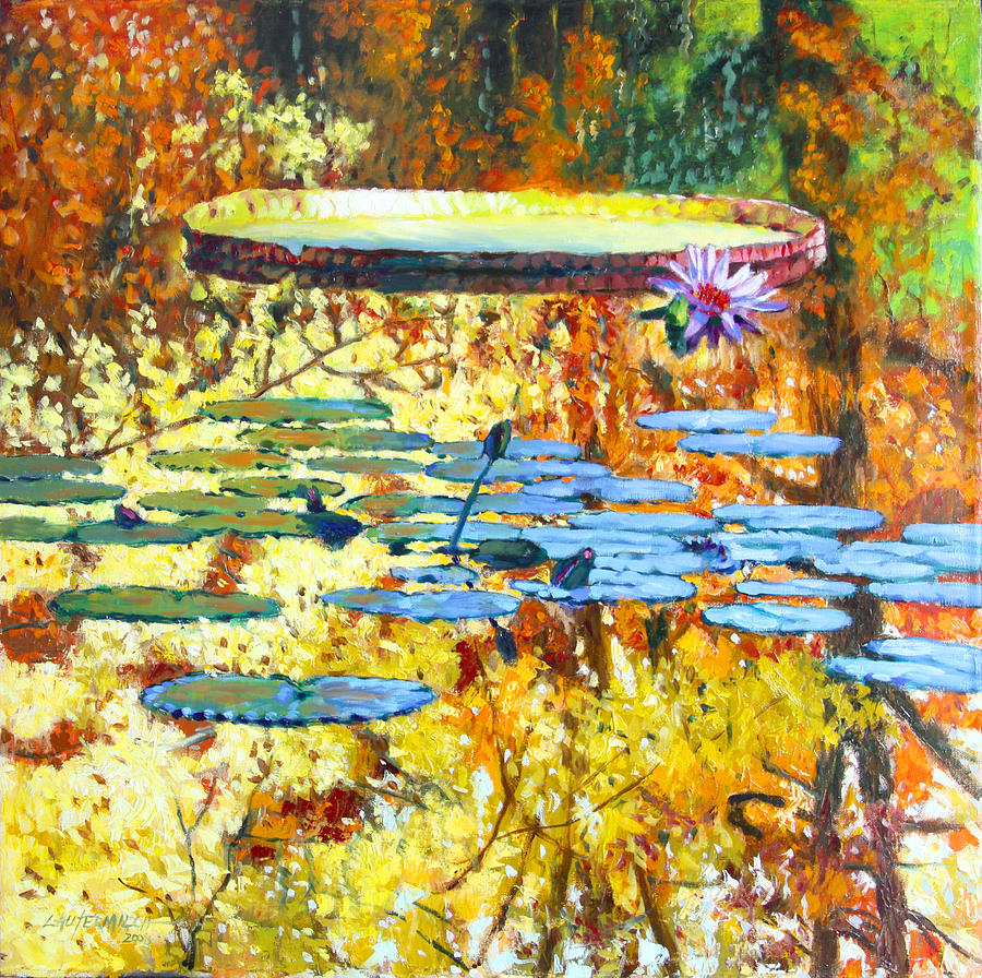 Fall Painting - Fall Colors on the Lily Pond by John Lautermilch