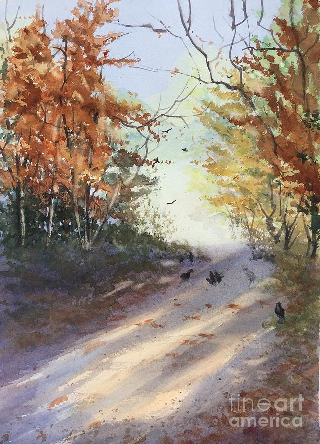 Watercolor Painting - Fall Early Morning by Yohana Knobloch