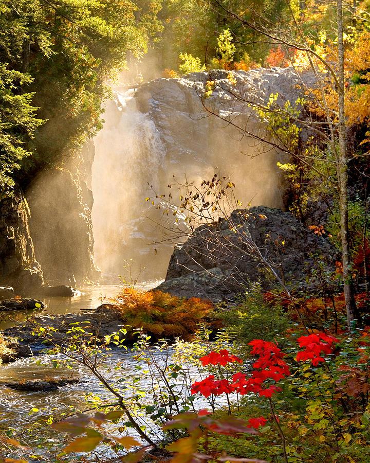 Fall Photograph - Fall Falls Mist  Dead River Falls  Marquette MI by Michael Bessler