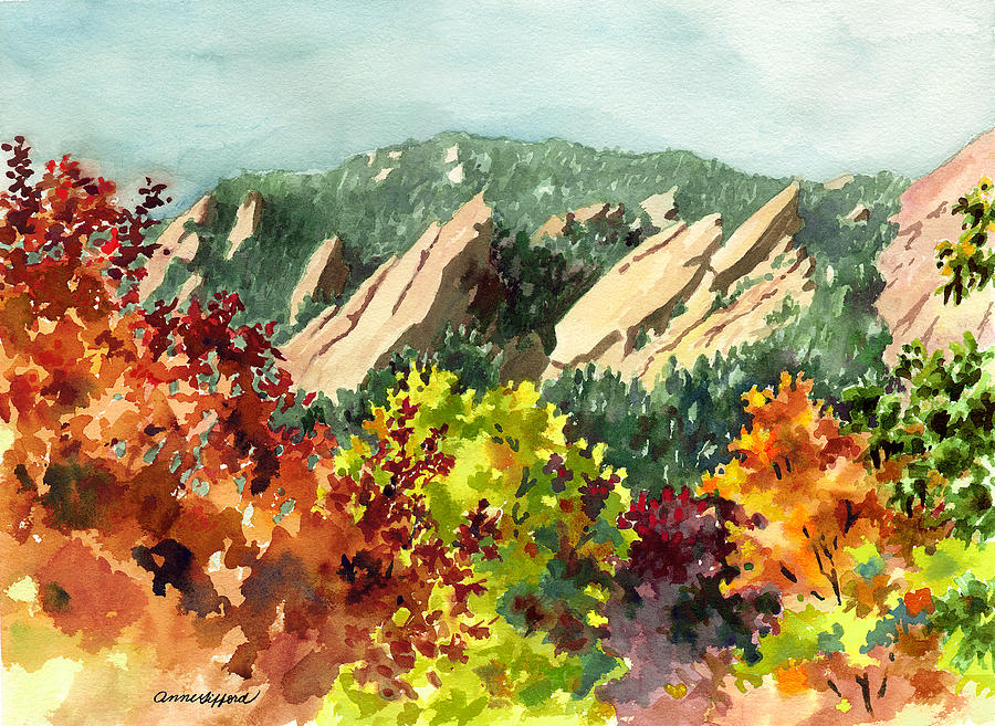 Fall Flatirons Painting by Anne Gifford